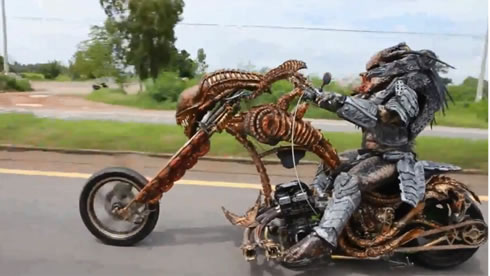 Alien from Predator movie stopped on Thai motorway