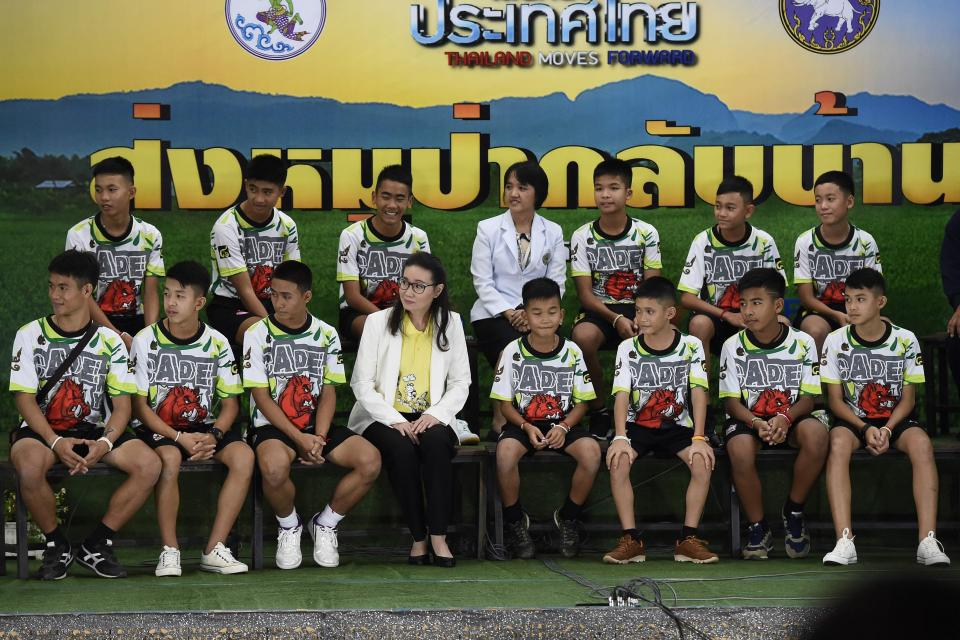 Thai wild boars soccer squad at a press conference discussing the cave rescue