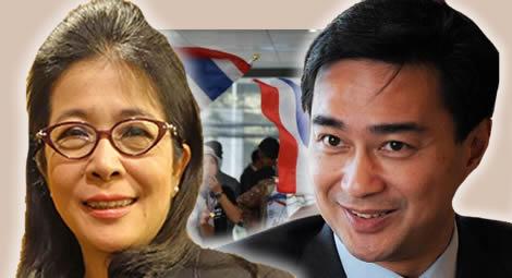 thai-election-politial-parties-plan-coalition-pheu-thai-khunying-sudarat-democrat-abhisit-vejjajiva