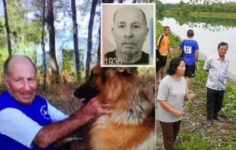 Loyal dog stands waiting for Dutch owner in Krabi after he appears to have drowned in local pond