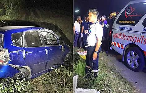 motorbike-car-accident-thailand-children-died-scene-thai-police-motorbikes-nakhon-si-thammarat
