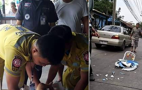 thai-police-truck-bangkok-child-baby-mother-walker-boy-crushed