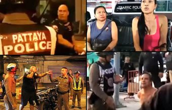 Western foreigners arrested in Pattaya by police in two separate incidents of out of control behavior