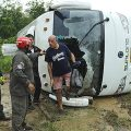 10 Italian tourists injured in Lampang, one woman seriously, after a minibus slides off a wet road