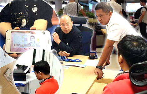 police-suvaranabhumi-airport-arrest-bagage-handler-thai-man-south-korean-woman-phone-pics-cash