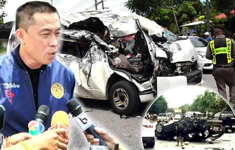 sa-kaeo-passenger-van-accident-transport-minister-saksayam-chidchob-police-vans-safety