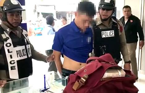 thai-wife-husband-bank-robbery-jumped-counter-knife-sri-racha-pattaya-police