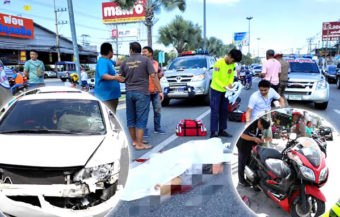 74-year-old UK man dies in another Pattaya motorcycle smash on a busy and notorious city highway