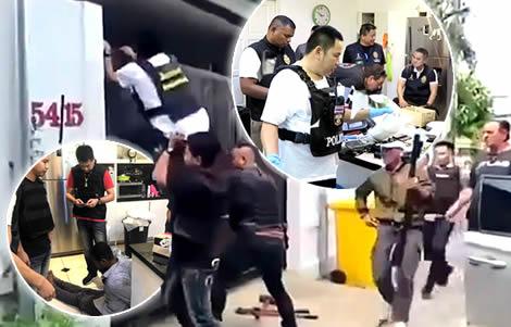 pattaya-thai-police-drugs-raid-property-australian-bikie-drug-gang-comancheros-hells-angels-gangs