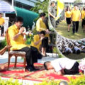 Saraburi school official under fire for pompous sent off ceremony with prostrating students before him