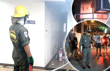fire-condo-building-pattaya-norwegian-man-dies-smoke-police-under-control-bang-lamung