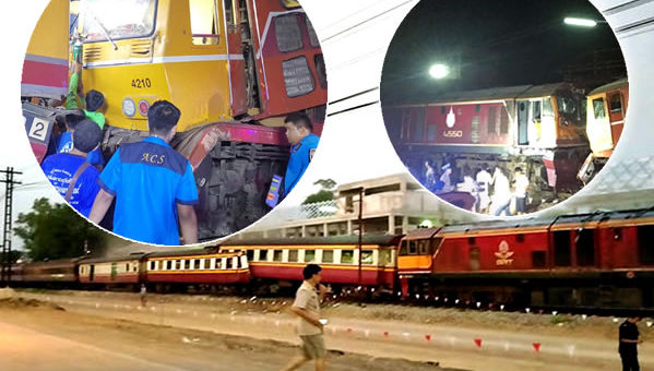 20 injured in train collision in Ratchaburi province between freight and passenger train on Monday