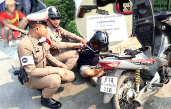 Police arrest an armed husband in Ayutthaya on his way to deal violently with his wife's illicit affair at work