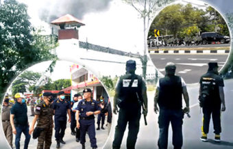 Prison riot and conflagration at Buriram prison in the northeast of Thailand with military deployed