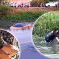 Lamborghini survives a plunge into low-level klong in Pathum Thani, driver emerged unscathed
