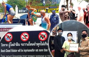 3 foreigners in Pattaya arrested for brazen flouting of the law on Saturday by swimming at a beach