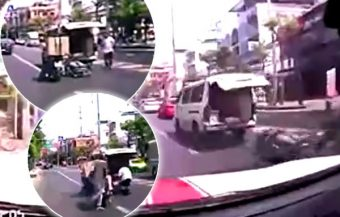 Ambulance expels female patient on a stretcher on to busy Bangkok street while speeding to hospital in traffic
