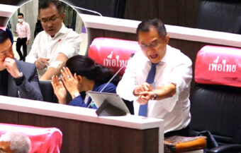 Chiang Rai MP shocks parliament in Bangkok by slashing himself in an outcry at police force action