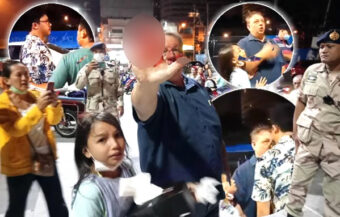 Russian man assaulted by protest leader at Pattaya rally leaving his 10-year-old daughter hysterical